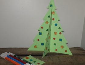 fabriquer un sapin de Noël en volume à colorier