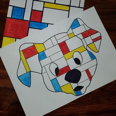 chien inspirée de l'œuvre de Mondrian