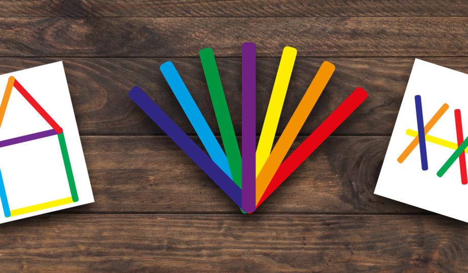les bâtonnets de couleurs pour trvailler les notions spatiales