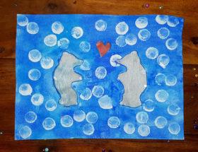 peinture pochoir ours polaire amoureux