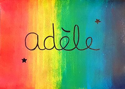 Panneau prénom à la peinture dégradés multicolores