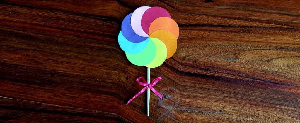création d'une sucette en papier pour déco candy bar