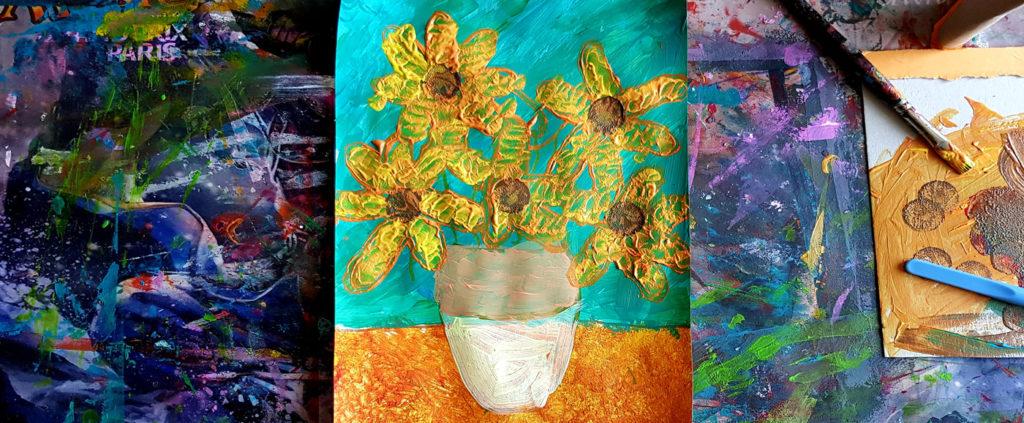 les tournesols à la manière de Van Gogh par les enfants