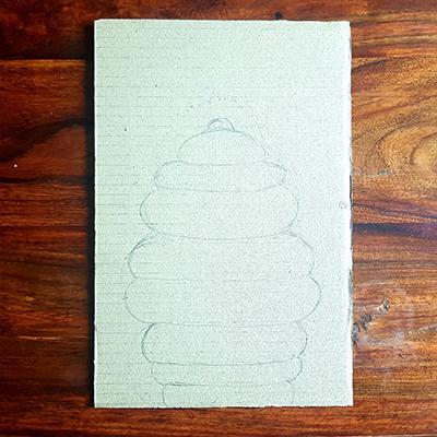 dessin ruche sur carton
