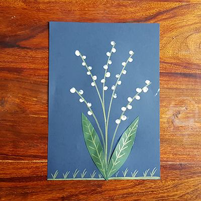 1er mai : muguet à la peinture, feutre et paper cartonné