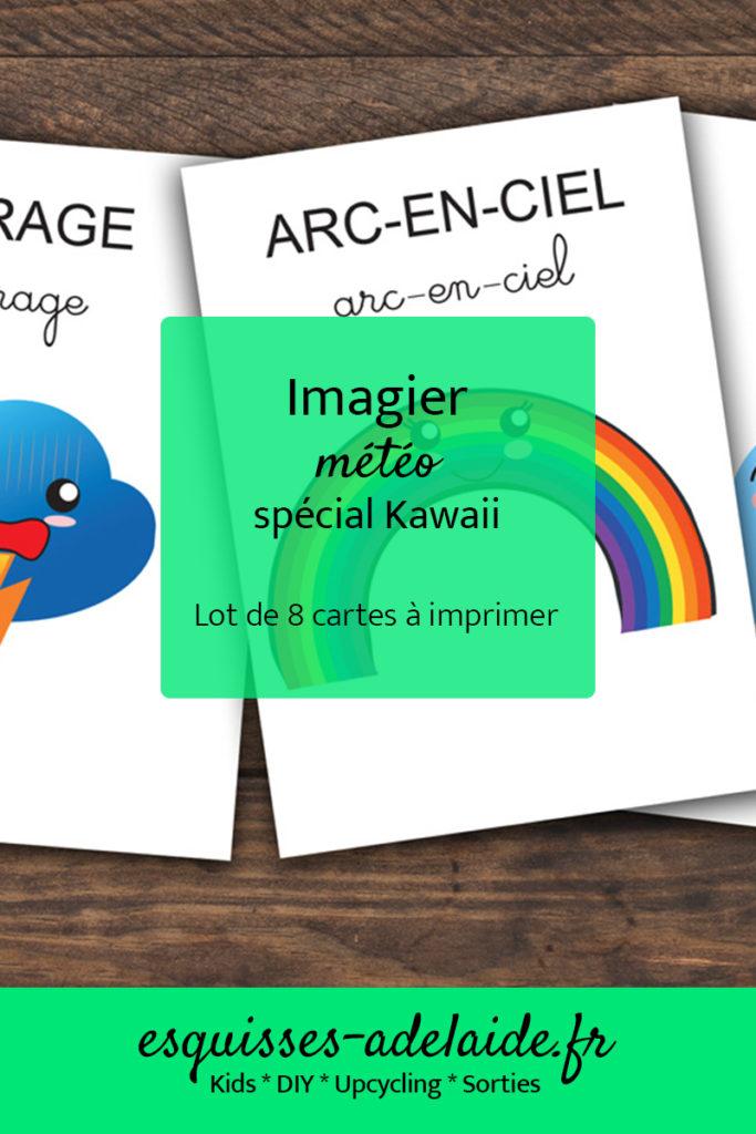 Imagier météo, spécial kawaii, lot de 8 cartes à imprimer