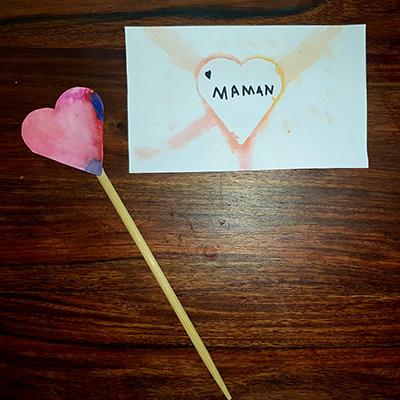 baguette coeur et carte coeur pour la fête des mamans