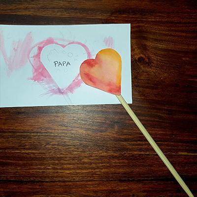 baguette coeur et carte coeur pour la fête des pères
