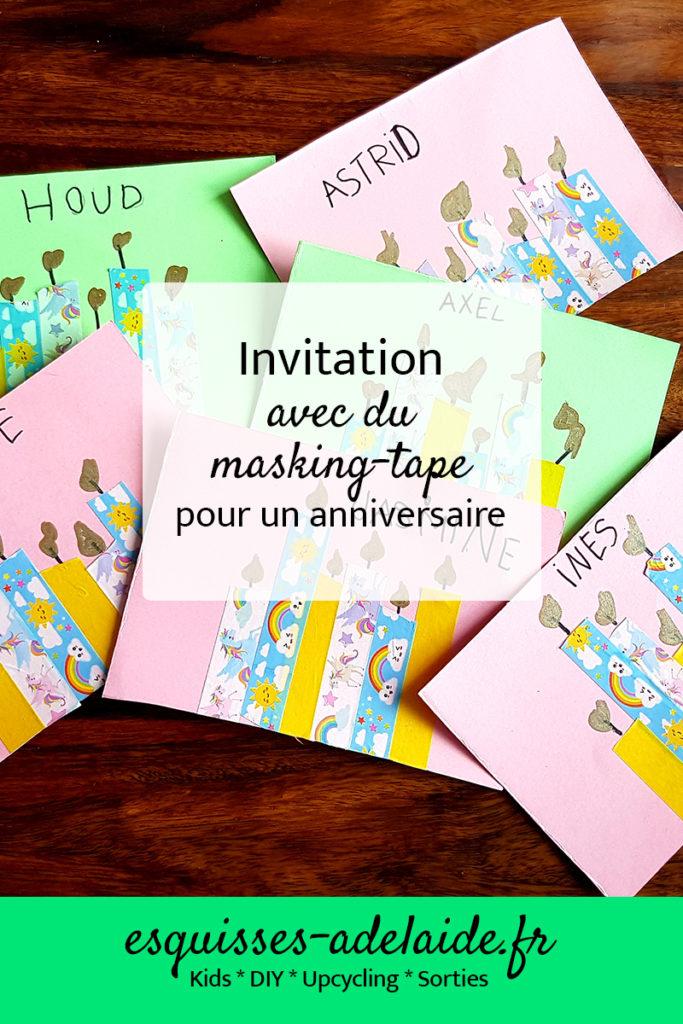 carte d'anniversaire / invitation anniversaire avec du masking-tape