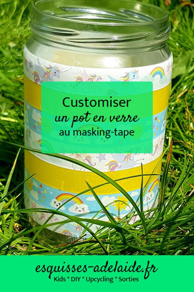 customisation d'un pot en verre au masking tape