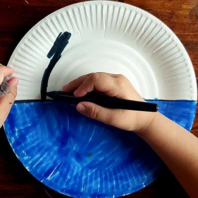 coloriage de l'assiette en carton