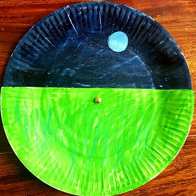roue nuit avec assiette en carton