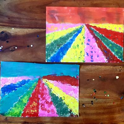 peinture les fleurs des champs au doigt