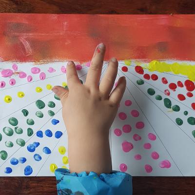 atelier peinture au doigt fleurs des champs