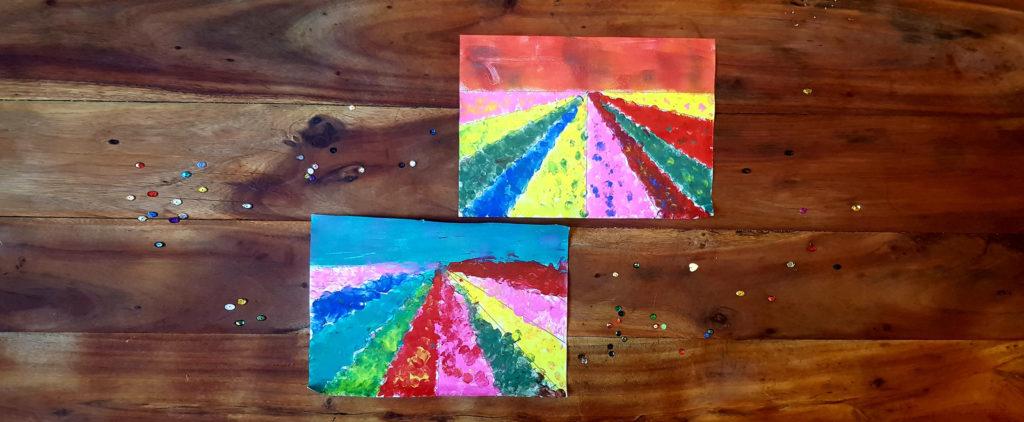 tuto pour enfant peinture au doigt les fleurs des champs