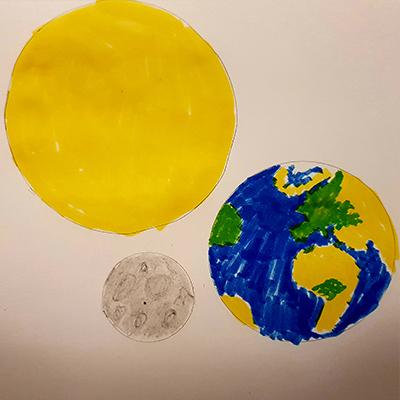 dessin soleil terre lune