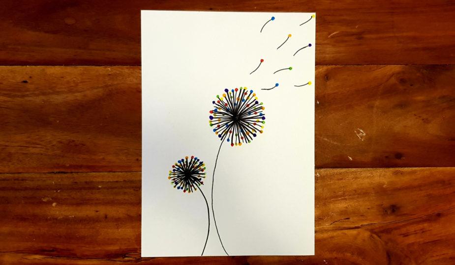 dessin d'enfant, la fleur, le pissenlit