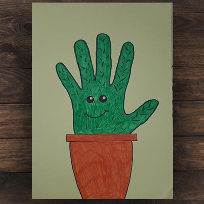 création d'un cactus avec sa main