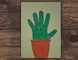 dessiner un cactus avec sa main et le colorier
