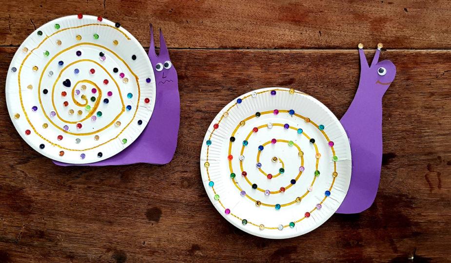 DIY enfant, création d'un escargot assiette en carton