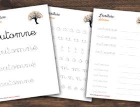 écriture du mot automne pour les enfants