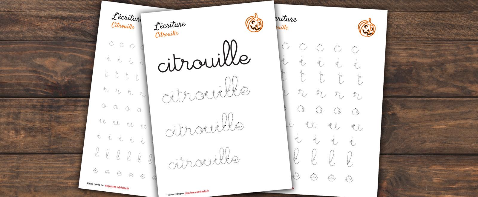 écriture du mot citrouille pour les enfants