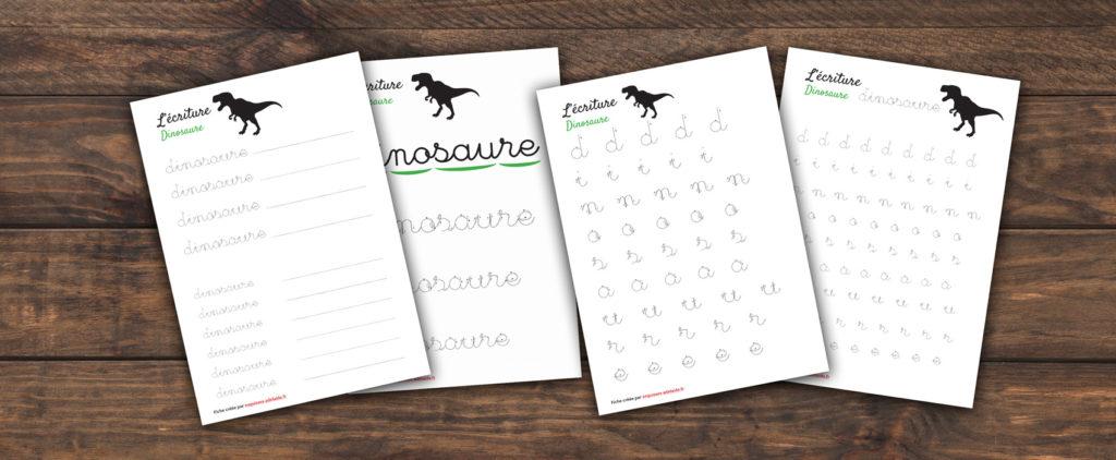fiches d'écriture dinosaure