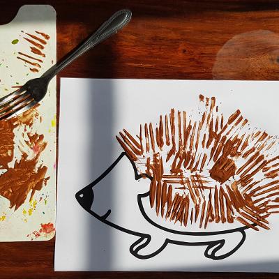 kids, hérisson, peinture à la fourchette