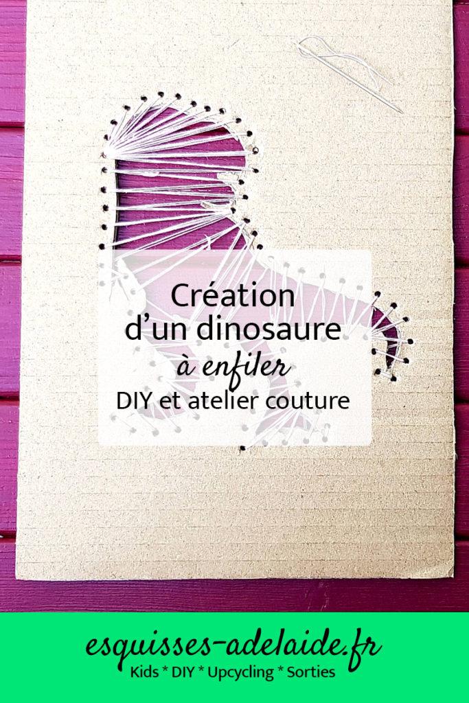 Enfant création d'un dinosaure à enfilier pour débuter la couture