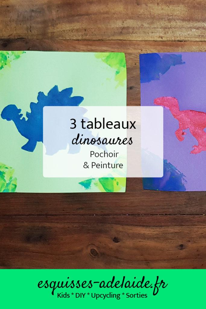 3 tableaux de dinosaures au pochoir et à la peinture