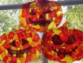 DIY Déco attrape soleil citrouille pour halloween