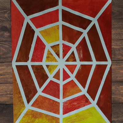 DIY toile d'araignée au masking tape et à la peinture