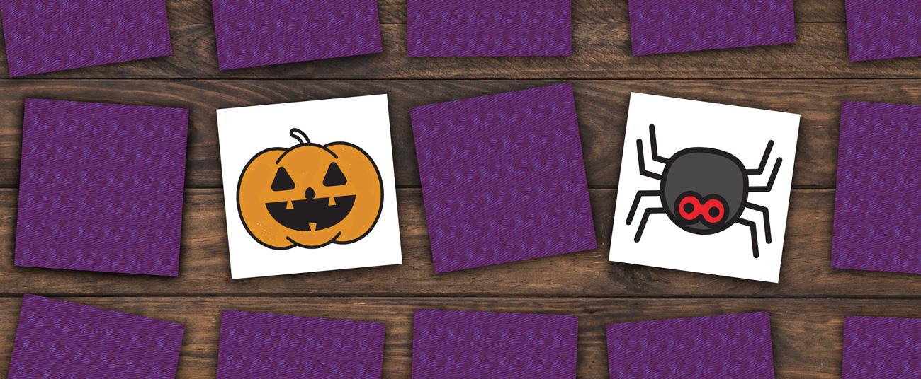 jeu enfant mémory de halloween à colorier